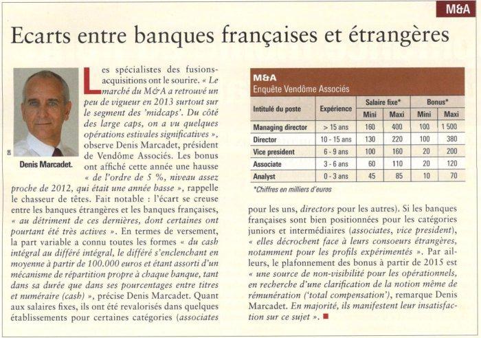 Ecarts entre banques françaises et étrangères