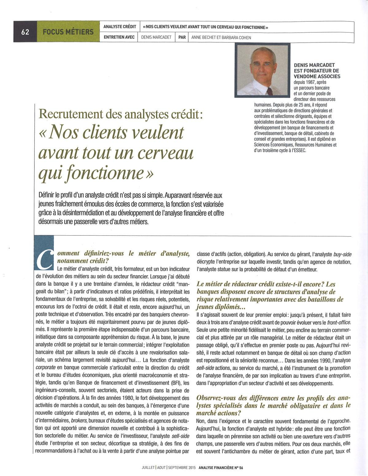 SFAF_AnalistesCredit _revue analyse financière 2 Denis Marcadet un cerveau qui fonctionne