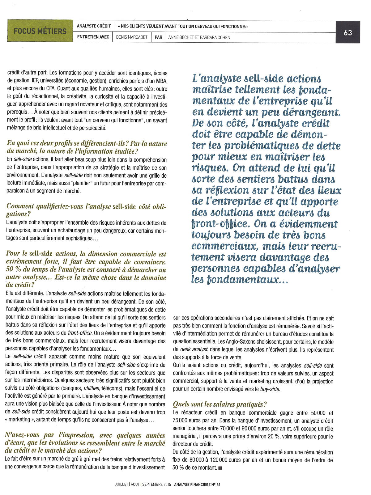 SFAF_AnalistesCredit _revue analyse financière