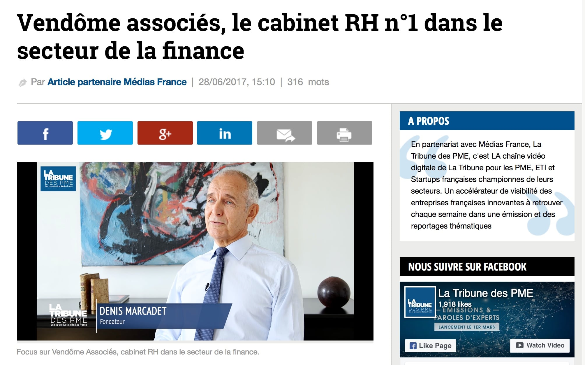 La Tribune - Vendome Associes Cabinet RH Finance